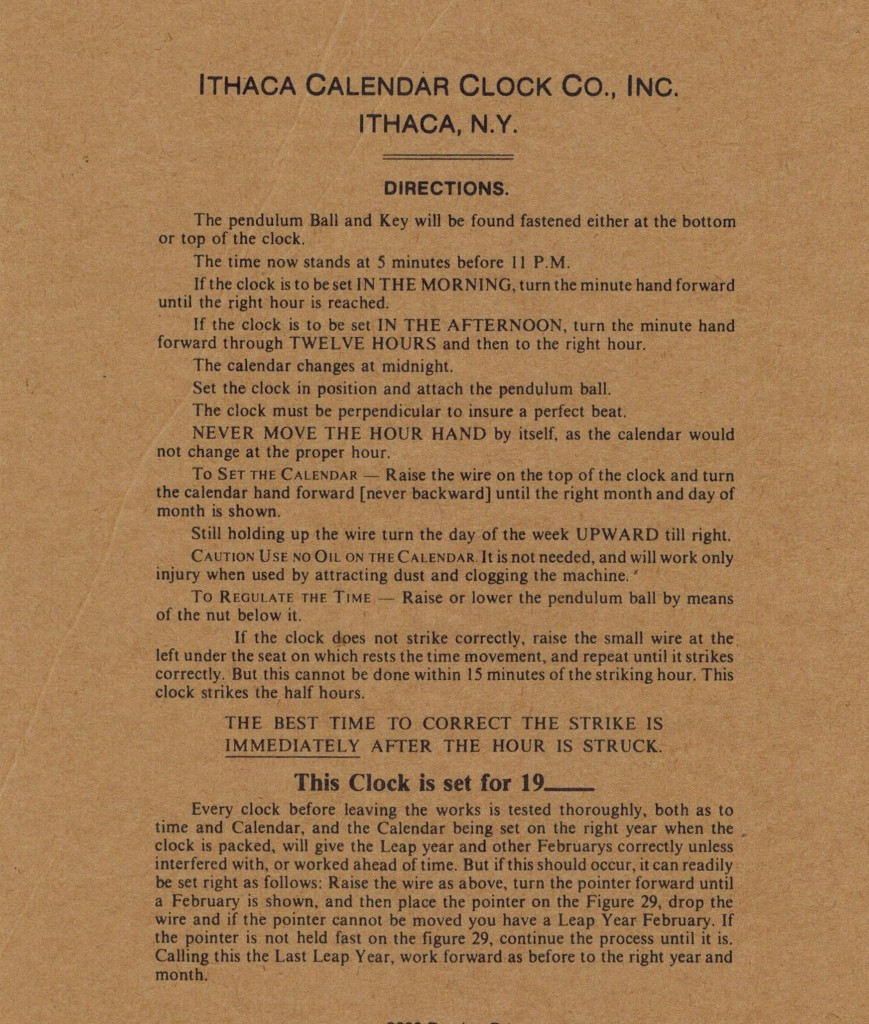 Ithaca Calendar Clock Instruction Sheet